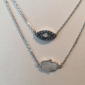 Jewelry - Evil eye & mother of pearl hamsa necklace